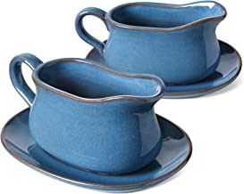 LE TAUCI 17oz Gravy Boat with Saucer Stand, 2 Sets, Ceramic Sauce Boat with Tray for Salad Dressings, Creamer, Broth, Blac...