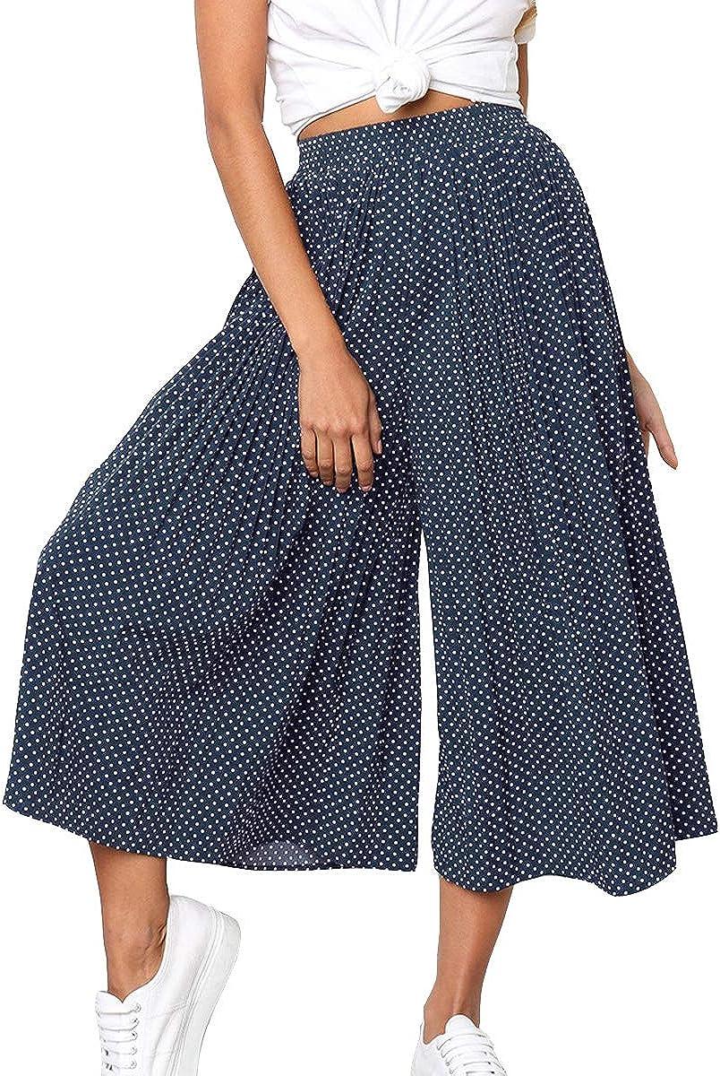 Joymosho Women's Casual Polka Dot High Waist Pleated Wide Leg Cropped Palazzo Pants Culotte Capri Pants