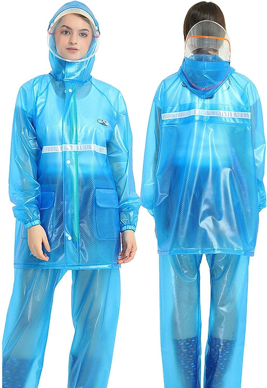 FHGH 2PCS Adult Split Raincoat, PVC Reflective Raincoat and Rain Pants Suit, Detachable Brim Design, for Fishing/Cycling,D,Large