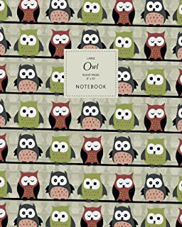 Owl Notebook - Ruled Pages - 8x10 - Large: (Autumn Edition) Fun Bird of Prey Notebook 192 ruled/lined pages (8x10 inches /...