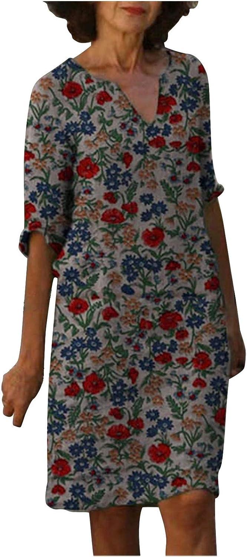 TooGIVE Dress for Women Summer Floral Printed Half Sleeve Midi Dress Casual Comfy Scoop Neck Vintage Dress Slim Dress