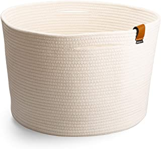 Large White Storage Basket for Nursery - Farmhouse Basket for Toys Towels Laundry Blankets   Ivory White (45cm W x 29cm H)