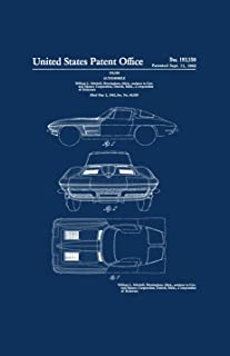 Framable Patent Art Original Classic Car Corvette Stingray 11in by 17in Patent Art Poster Print Navy Blue PAPSSP188NB