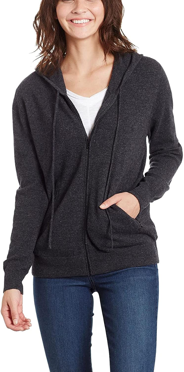 Invisible World Women's 100% Cashmere Sweater Zip Up Hooded Cardigan