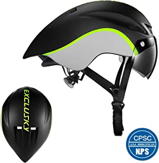 Exclusky Road Bike Helmet with Detachable Goggles for Adults Men and Women TT Bicycle Helmet Adjustable M L Size (22 to 24 Inches)