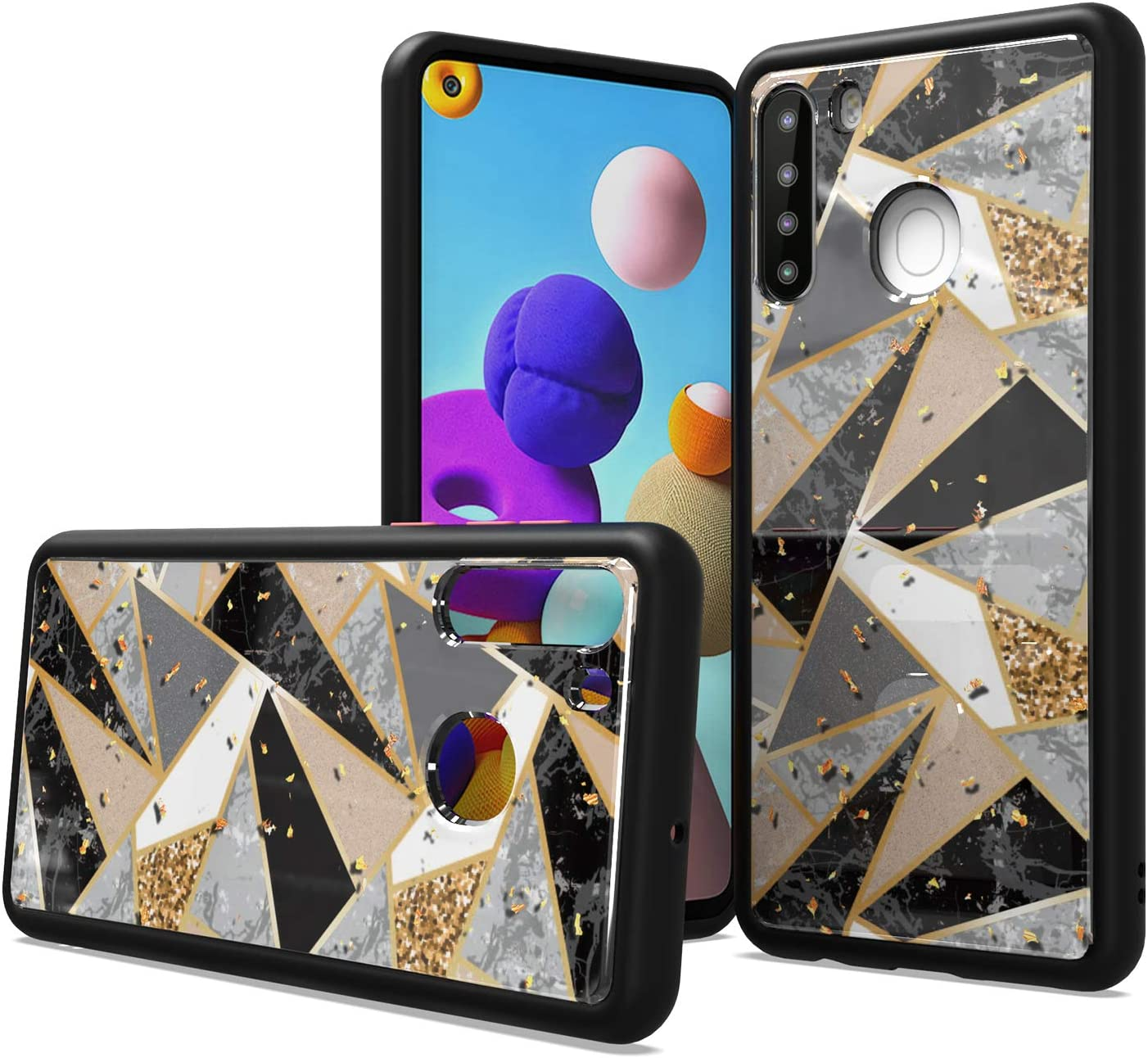 Fcclss Cell Phone Case for Samsung Galaxy A21, Heavy Duty Hybrid Case with Glitter Sparkle Marble Printed Pattern, Slim Fit Luxury Black TPU Case, Shockproof Protective Case Cover