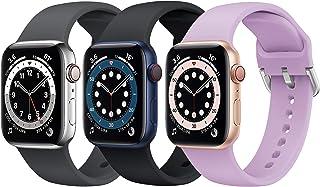 Supore 3 Sztuki Apple Watch Pasek Kompatybilny z Apple Watch 38mm 42mm 40mm 44mm 41mm 45mm, Miękka Silikonowa Opaska na Na...