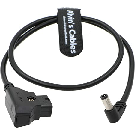 W 2.5DC Barrel DRRI D-Tap Male to DC Barrel 5.5x2.5mm Right Angle Power Cable for Black Magic Video Assist 4k// Small HD Monitor