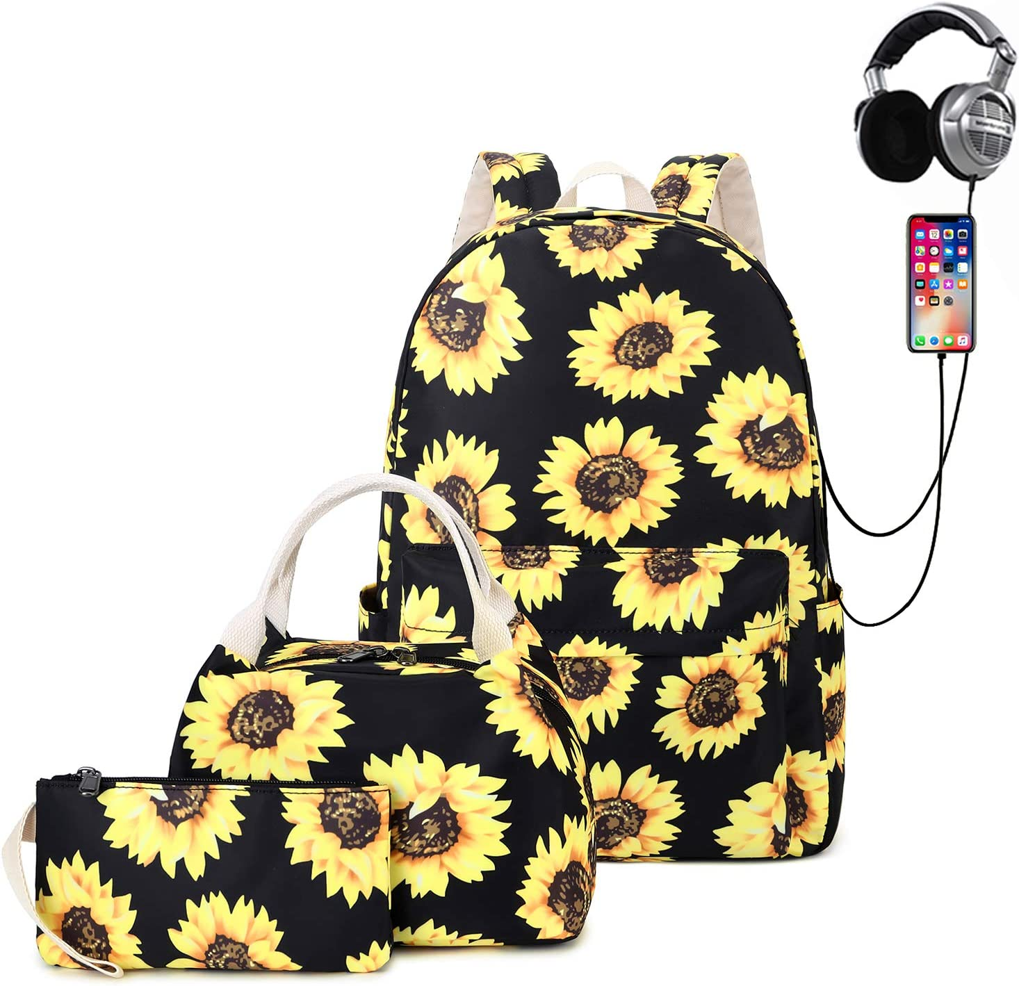 Natayoo Sunflower School Backpack for Teen Girls Lightweight Water Resistant Laptop Backpacks with Lunch Bag and Pencil Case,Large