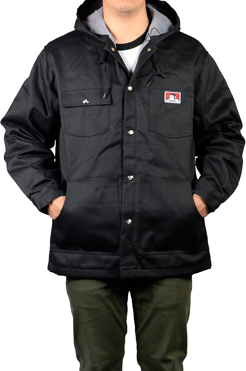 Ben Davis Down Hooded Jacket with Front Snap (Large) Black