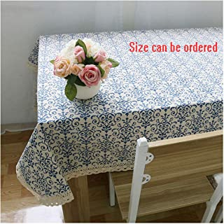 Linen Tablecloth Blue and White Porcelain Pattern Tablecloth Coffee Table Wedding Large Party,Tablecloth,145200Cm