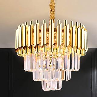 Lustre en cristal moderne à 3 niveaux, cristaux de goutte de pluie, luminaire suspendu, éclairage de plafond doré pour sal...