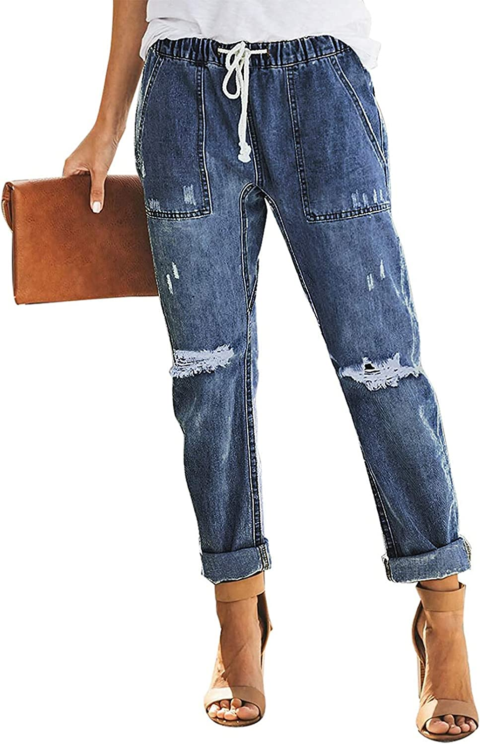 Dokotoo Women's Patchwork Destroyed Sale Special Price Raw Ripped Bo Hem Mail order Jeans Hole