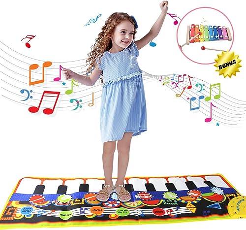 Cadeaux pour Filles Garçons 2-5 Ans, Joy-Fun Tapis de Piano, Enfant Tapis de Musical, Jouet de Danse Bébé, Cadeaux An...