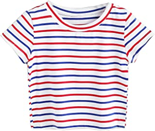 Women's Short Sleeve Striped Crop T-Shirt Casual Tee Tops