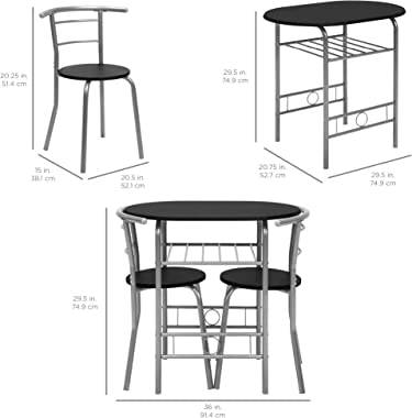 Best Choice Products 3-Piece Wooden Round Table & Chair Set for Kitchen, Dining Room, Compact Space w/Steel Frame, Built-