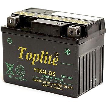 Toplite 台湾ユアサ YTX4L-BS バイク用耐震 バッテリー AGM シールド型 液入り充電済み YT4L-BS高性能版 台湾YUASA 第2ブランド