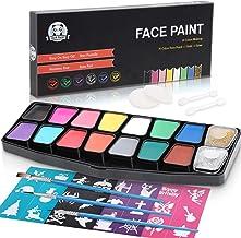 LENBEST Pinturas Cara, Maquillaje al Agua, Pinturas Corporales - 14 Colores 3 Cepillos 2 Esponjas 2 Barras de Ojos 2 Brillos - Pintura Facial Profesional para Niños - a Base de Agua