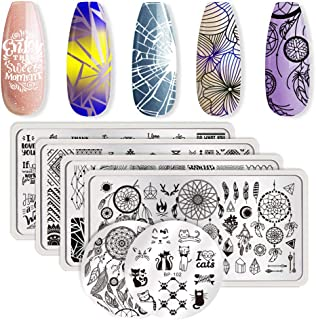 Born Pretty 6Pcs Nail Art Stamping Plates Set Valentine's Day Dream-Catcher manicuring Print Tool with 1Pc Jelly Stamper and Scraper