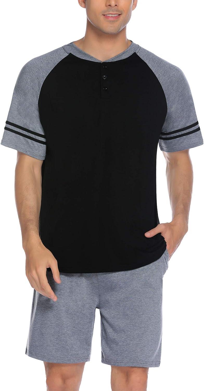 Mens Short Pajamas Set Big and Tall Short Sleeve V Neck Tops and Shorts Lounge Sleepwear 2 Pieces Pjs Short Sets M-XXXL