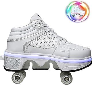 DHTOMC Scarpe con Rotelle Pattini A Rotelle Retrattile Retrattile 4 Ruote LED Skateboard Sneakers Scarpe Sportive con Rote...