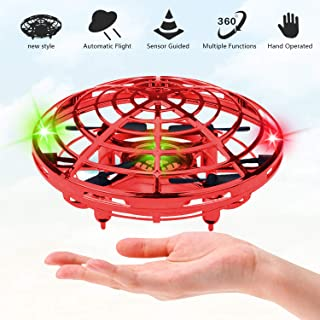 UFO Flying Ball Toys for Kids and Adults, Rechargeable Mini Quadcopter with 360° Rotating and Shinning LED Indicator Infrared Induction Hand-Controlled Drones Gravity Defying Helicopter Gift (red)