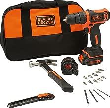 Black and Decker BDCDD12HTSA 10.8V Cordless Drill Kit (Orange,24-Pieces)