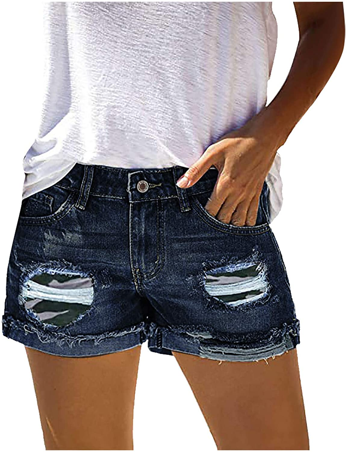 MASZONE Denim Shorts for Women High Waisted, Distressed Ripped Shorts Jean with Holes Hot Short Jeans with Pockets