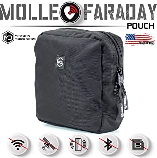 Mission Darkness MOLLE Faraday Pouch. Military-Grade Bag Attaches to Any MOLLE Webbing System. RF Signal Blocking + Anti-Hacking/Tracking/Spying + Data Privacy for Phones, Tablets & Electronic Devices