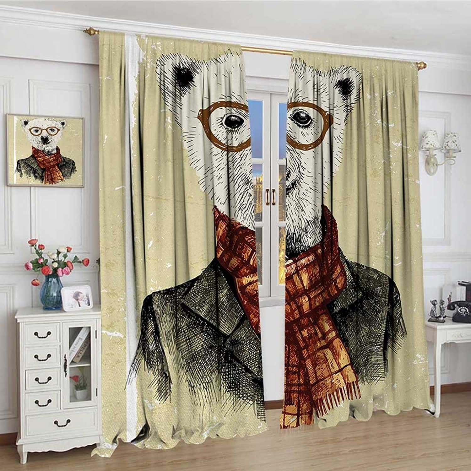 Animal Widened Room Darkening Curtains Hipster Bear with Glasses Scarf Jacket Wild Mammal Humgoldus Artwork Drapes for Living Room 120 x84  Cream Dark orange Black