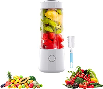 Portable Blender, Handheld USB Rechargeable Multifunctional Fruit Juicer Machine Mixer Bottle, Personal Blender with Six Blades, Household Squeezer Kitchen Tool (White)