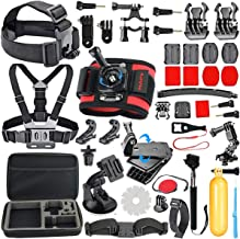 HAPY Sports Action Professional Video Camera Accessory Kit for GoPro Hero 6 5 Black, Gopro Max,Hero Session,Hero (2018),Hero 8 7,6,5,4,3,3+, GoPro Fusion,SJCAM,AKASO,Xiaomi,DBPOWER (Red Wrist Strap)