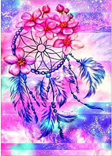 KERIQI 5D DIY Full Diamond Painting by Number Kits, Full Drill Paintings Pictures Arts Craft for Home Wall Decor - Pink and Purple Dream Catcher 11.8 x 15.7 Inch