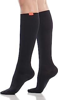 VIM & VIGR 30-40 mmHg Medical Grade Compression Socks for Women & Men (Black Solid Moisture Wick Nylon, Small/Medium)