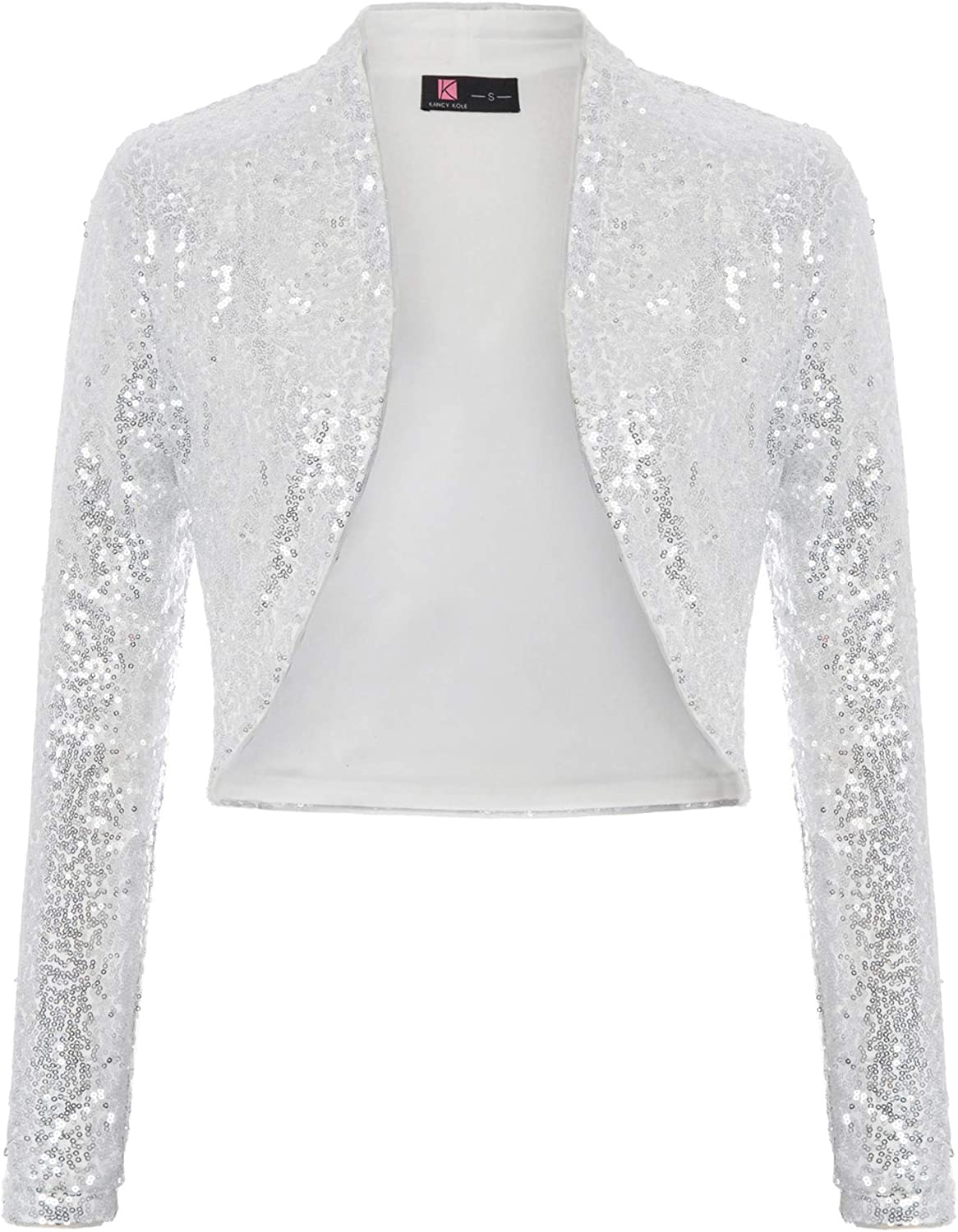 KANCY Super sale period limited KOLE Women's Sequin Shrug Long B Cropped Sleeve Front Open Large special price