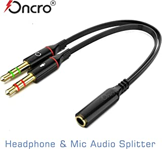ONCRO® Flat Cable with Gold Plated 2 Male to 1 Female 3.5mm Headphone Earphone Mic Audio Y Splitter Cable Cord Wire for PC Laptop