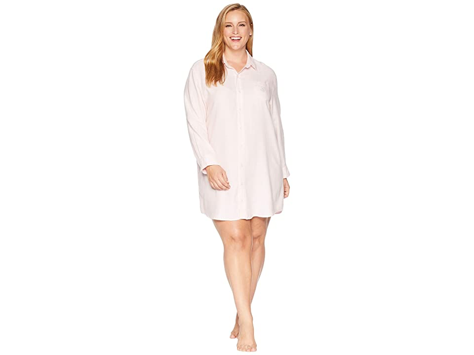 LAUREN Ralph Lauren Plus Size Woven His Shirt Sleepshirt (Pink Stripe) Women