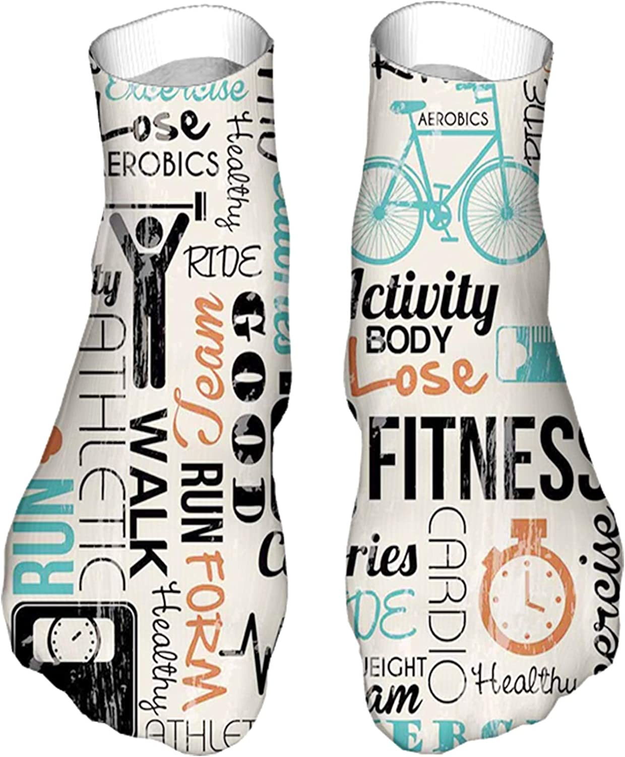 Women's Colorful Patterned Unisex Low Cut/No Show Socks,Healthy and Active Life Concept Exercising Sports Text
