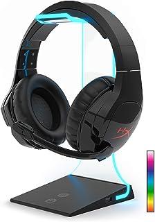 Soporte para auriculares RGB con carga USB – Diseño acrílico iluminado flotante compatible con todos los auriculares de tamaño estándar | Vertex by Asterion
