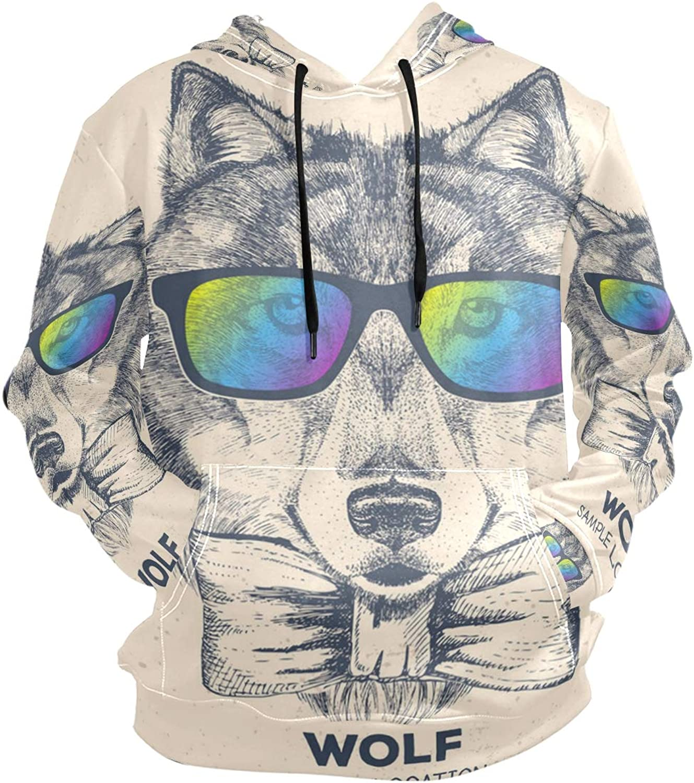 Jonassk Woolffk Wolf Face Mask Unisex 3D Novelty Hoodie Hooded Sweatshirt Pocket Cool Sweatshirt Casual