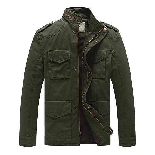 8d6cf2dd2ae66 WenVen Men's Stand Collar Cotton Field Jacket
