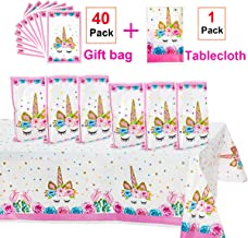Unicorn Party Supplies,40 Pack Unicorn Plastic Party Bags & Unicorn Plastic Tablecloth Set,Unicorn Goodies Gift Treat Bags for Candy,Kids Girls Birthday,Party Favors,Cookies.Unicorn Table Cover for Baby Shower.