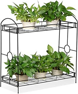 Yaheetech 2 Tier Planter Rack Step Style Metal Plant Stand Outdoors,Black
