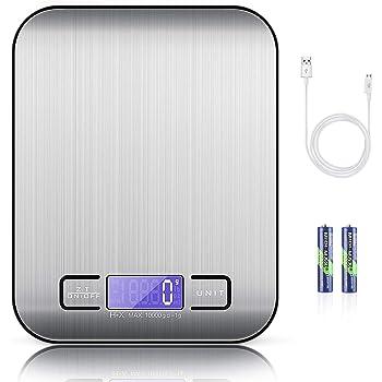 MOSUO Báscula Cocina Digital con Cable USB, Bascula Precision Cocina 10kg/1g Peso de Cocina Digital, Balanza de Alimentos Acero Inoxidable con Gran Pantalla LCD, Función de Tara (Baterias Incluidas)
