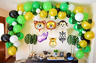Jungle Safari Theme Party Decorations 165pcs:130 latex balloons,24 Green Palm Leaves, 16 feets Arch Balloon strip tape, 2 Balloon tying tools Safri party Supplies and Favors for Kids Boys Birthday Bab