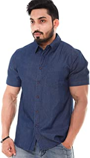 Twist Men's Denim Slup Regular Fit Solid Half Sleeve Shirt (Dark Blue)