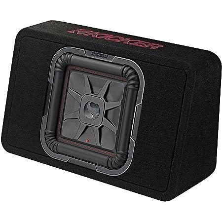 KICKER 46TL7T102 10 Inch 2 Ohm 500 Watt RMS Power and 1000 Watts Peak Power Single Car Audio Thin Profile Subwoofer Enclosure, Black