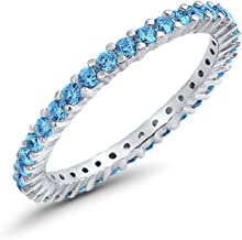 Blue Apple Co. Full Eternity Stackable Wedding Band Ring 925 Sterling Silver Choose Color