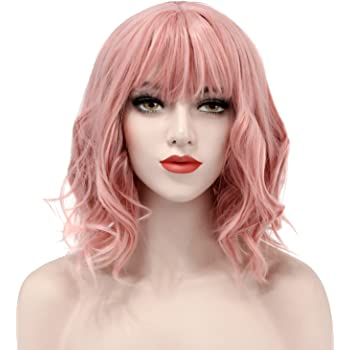 Discoball Short Curly Wig Charming Lady Bob with Fringe