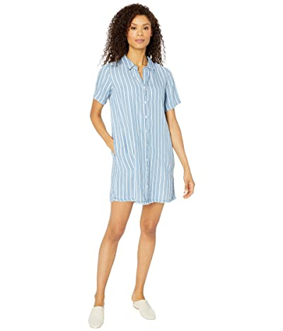 Mod-o-doc Stripe Tencel Denim Short Sleeve A-Line Dress with Frayed Hem (Blue) Women
